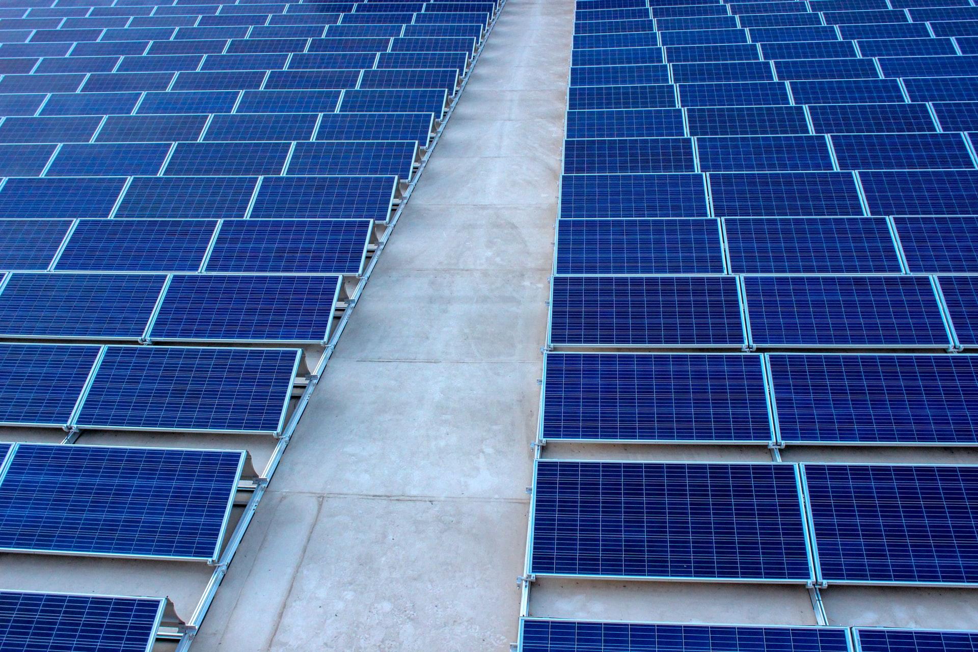 rijen met zonnepanelen